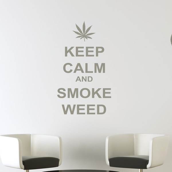 Keep calm wall sticker smoke weed wall decal cannabis quotes home decor