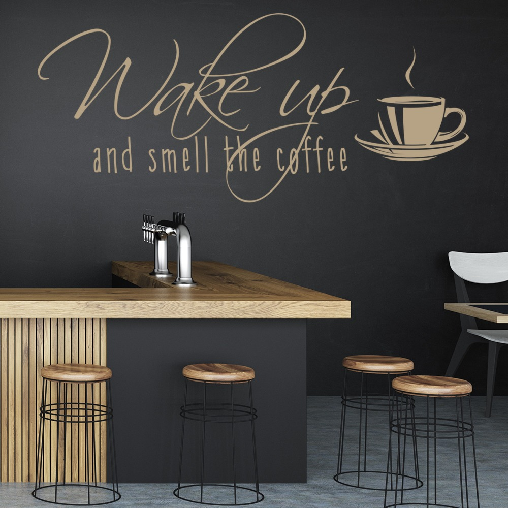 Kitchen Wall Vinyl: Smell The Coffee Wall Sticker Food Drink Quote Wall Decal