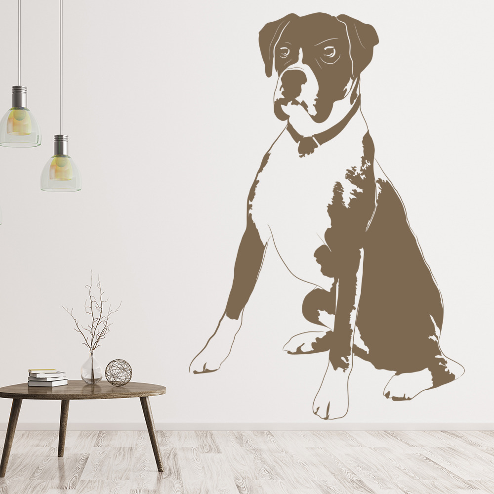 Boxer Dog Wall Sticker Pet Animals Wall Decal Canine Vets Home Decor ...