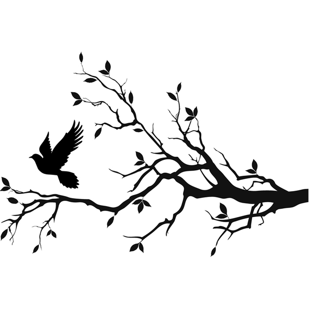 Branch Silhouette Tattoo Decals – Name