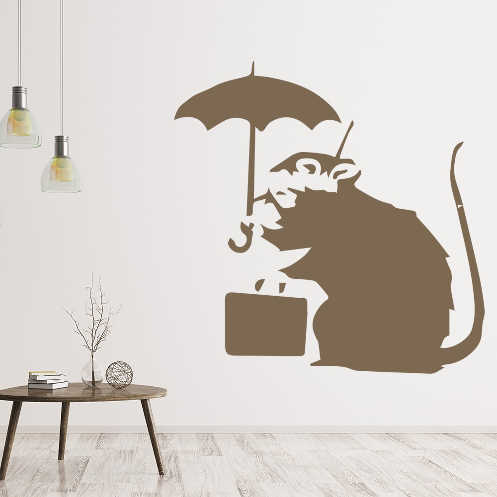 Rat Umbrella Banksy Graffiti Street Art Wall Stickers Home Decor Art ...