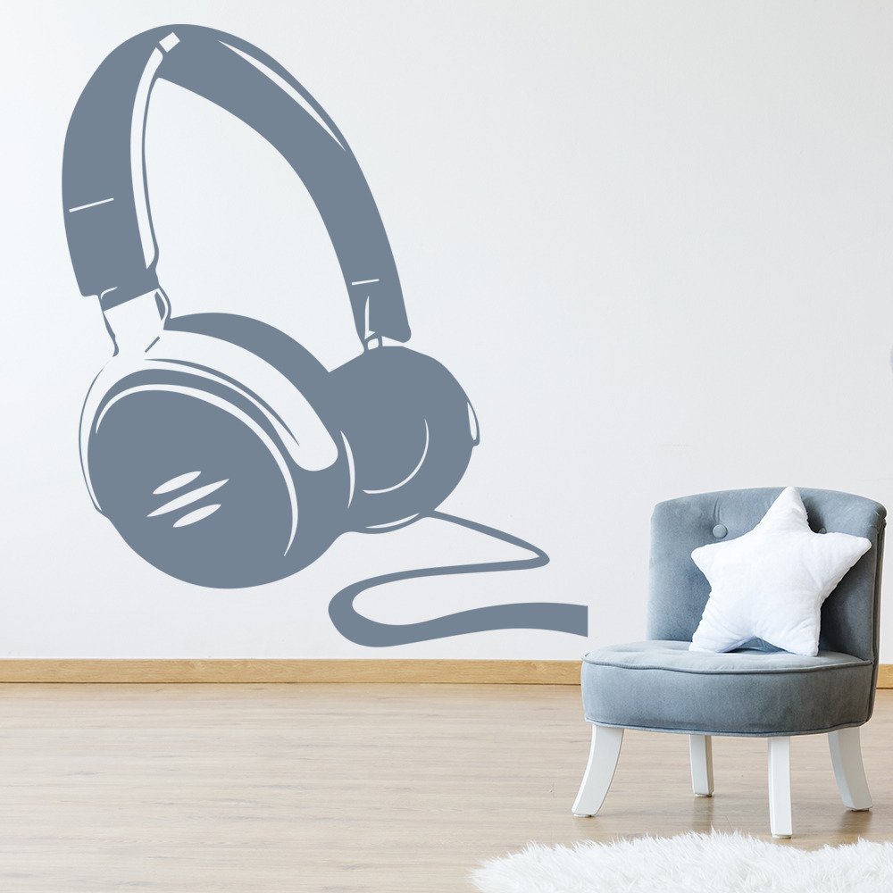 Headphones Wall Sticker Music Wall Decal Kids Bedroom School Home Decor