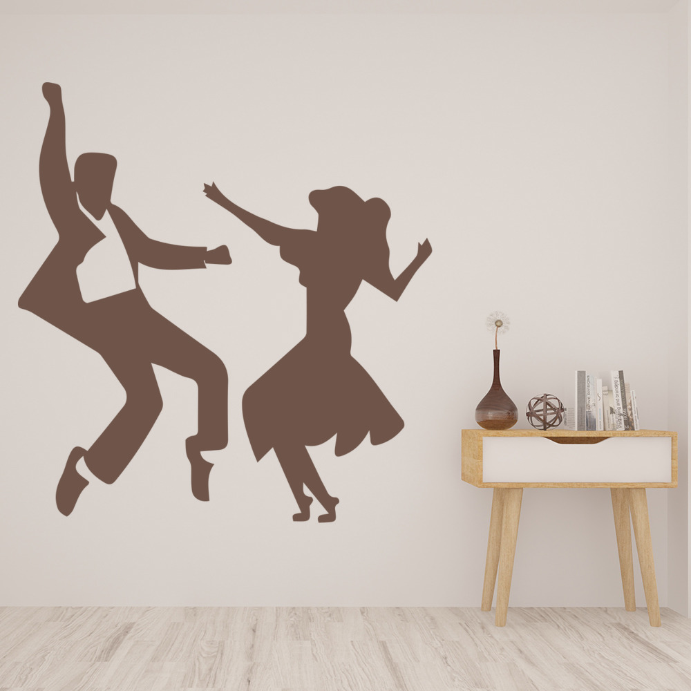 Jive Dance Couple Wall Sticker Latin Dancing Wall Decal Music Home ...