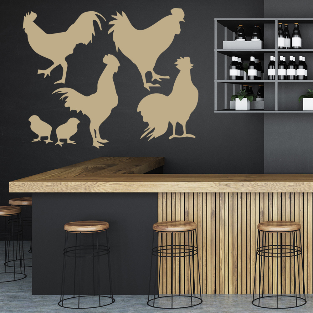Rooster Chicken Wall Sticker Set Farm Animal Wall Decal Kitchen ...