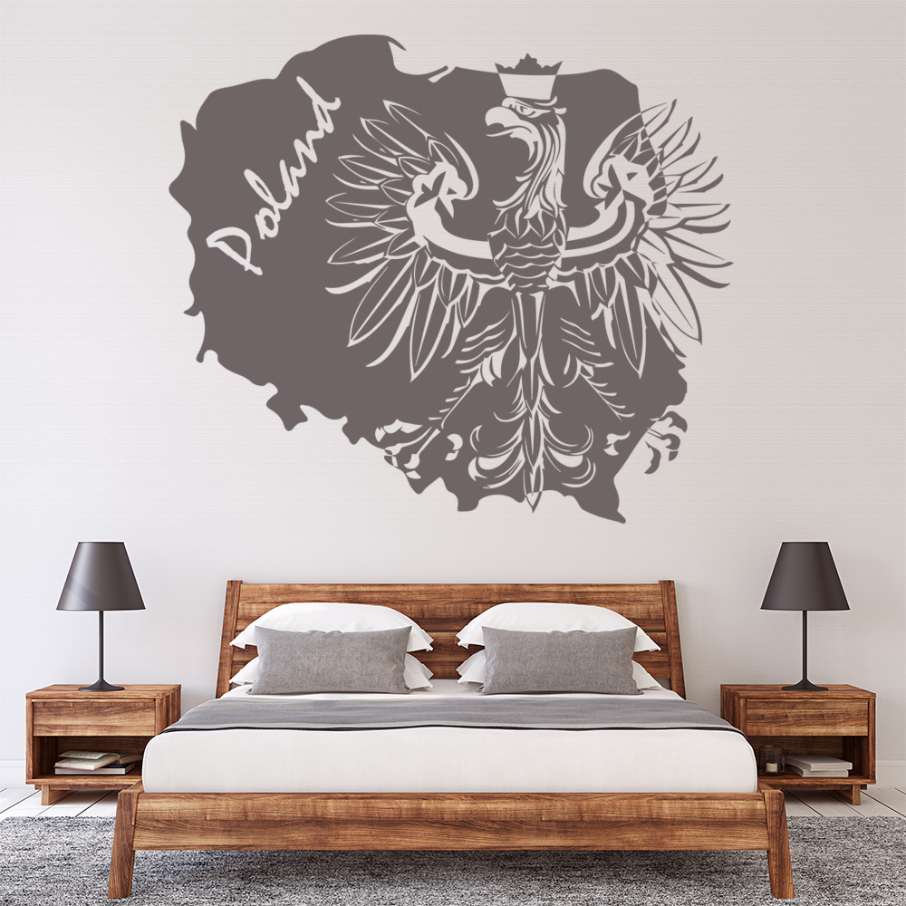 Poland Map Wall Sticker White Eagle Decal Bedroom Office Home Decor