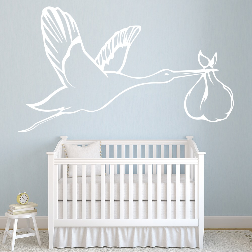 Flying Stork & Baby Wall Sticker Birds Wall Decal Art Baby Nursery ...