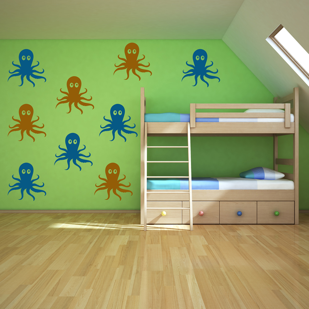 Octopus Wall Sticker Pack Under The Sea Wall Decal Bathroom Kids ...