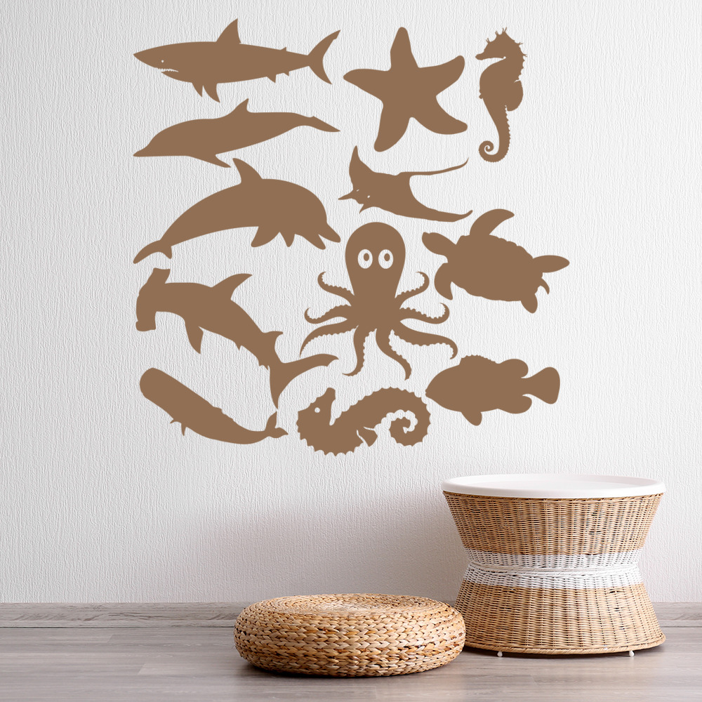 Details About Under The Sea Shark Fish Wall Decal Sticker Set Ws 33242