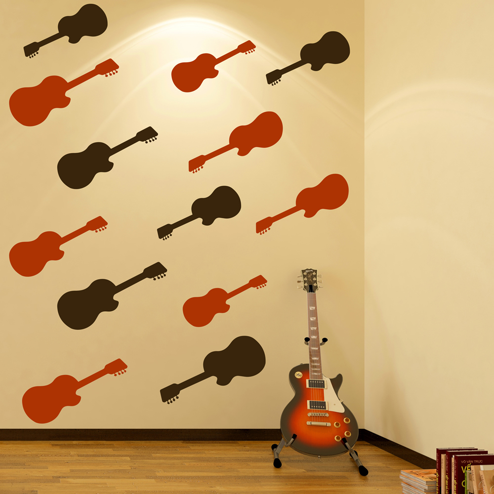 Acoustic Guitar Wall Sticker Pack Music Wall Decal Kids Bedroom ...