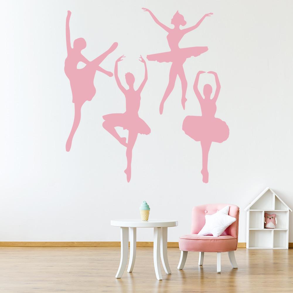 Wandaufkleber Ballerina Mädchen ♥ Ballett Tanzen Kinderzimmer Tütü WandTattoo