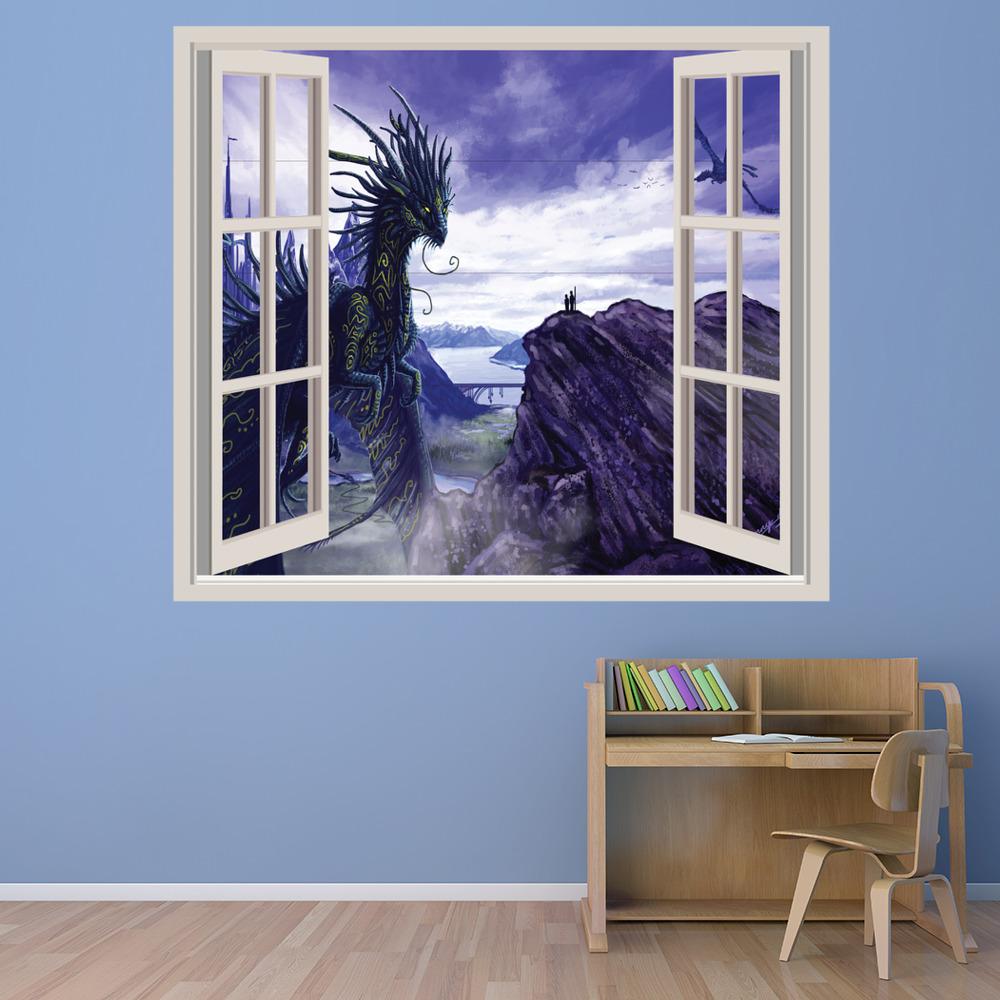 Drag n 3d ventana vinilos decorativo fantas a paisaje - Adhesivos pared 3d ...