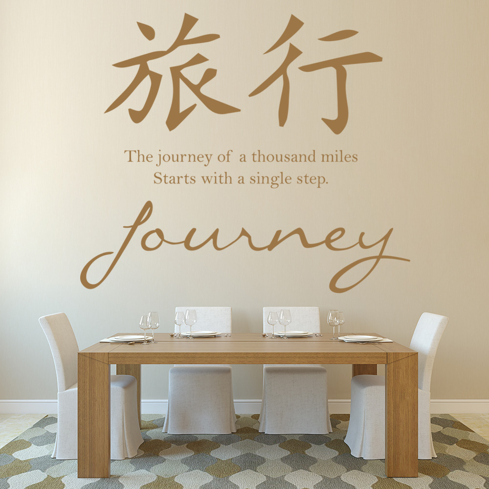 Journey Wall Sticker Chinese Symbol Quote Wall Decal Living Room ...