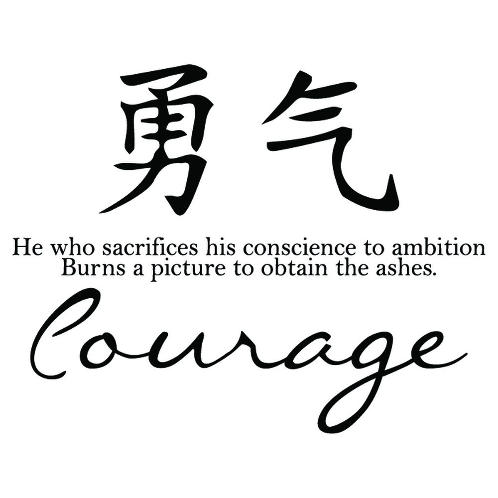 Courage Wall Sticker Chinese Symbol Quote Wall Decal Living Room