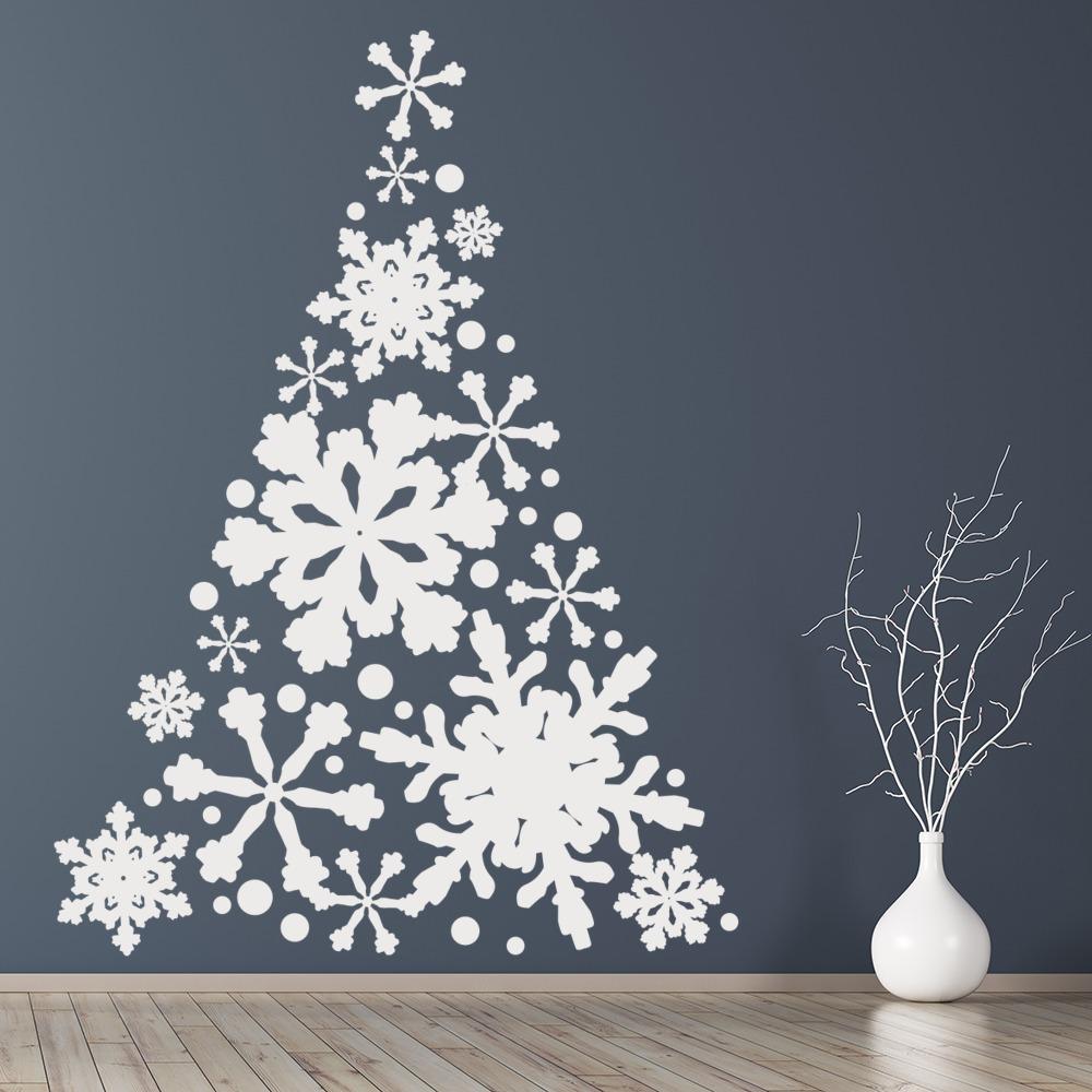 snowflake christmas tree wall sticker festive wall decal xmas shop home decor