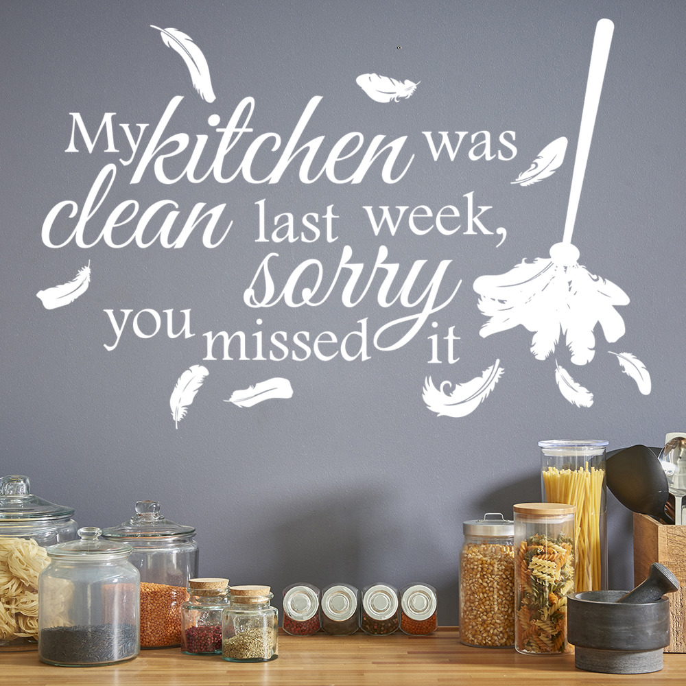 Details about My Kitchen Was Clean Wall Sticker Kitchen Quotes Wall Decal Funny Family Decor