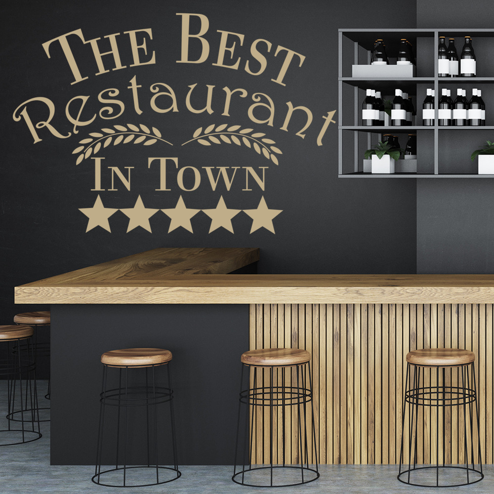 Best Restaurant In Town Wall Sticker Kitchen Quotes Wall Decal Cafe ...