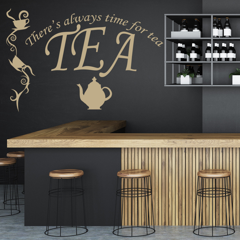 There\'s Always Time For Tea Wall Sticker Kitchen Quotes Wall Decal ...