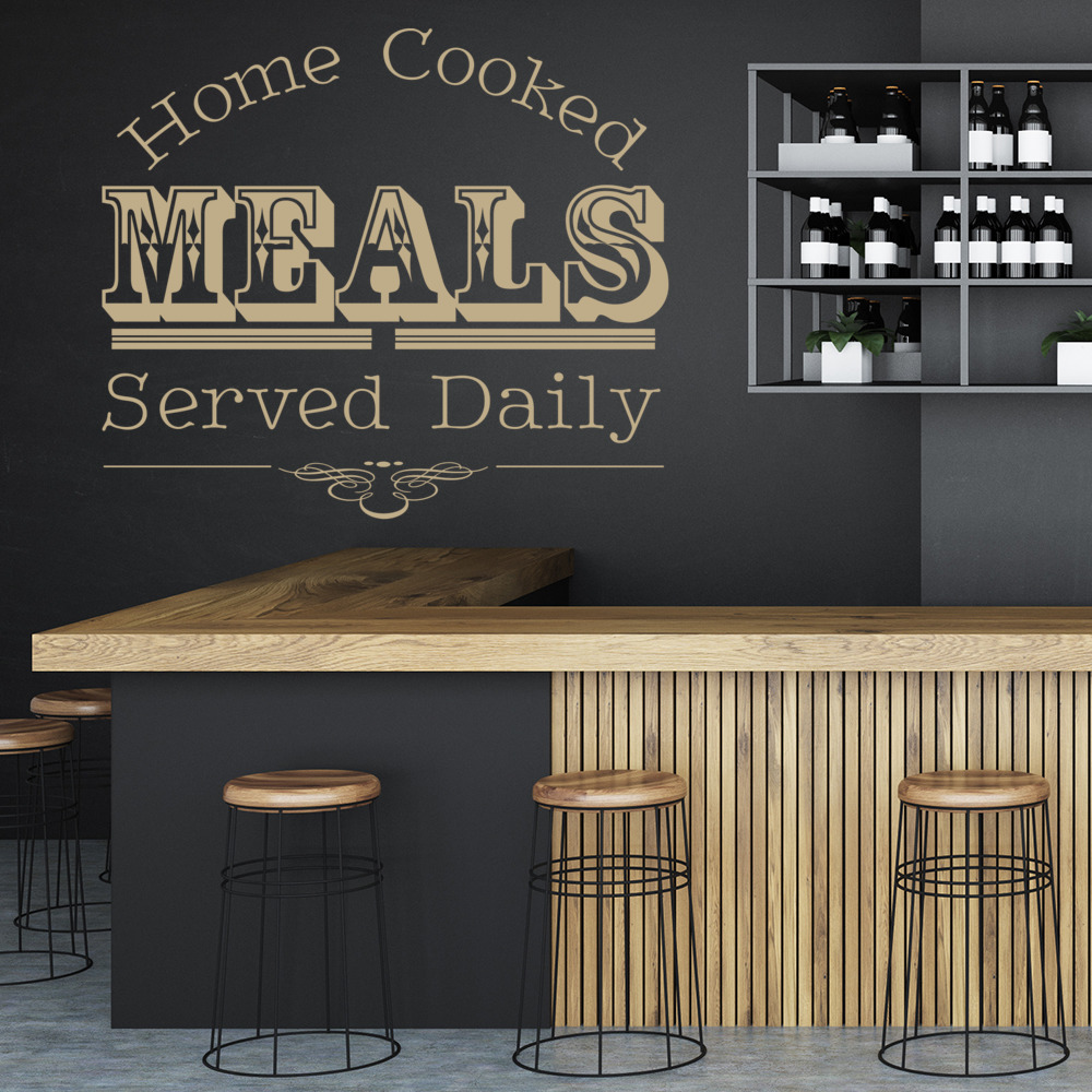 Home Cooked Meals Wall Sticker Kitchen Quotes Wall Decal Cafe Home ...