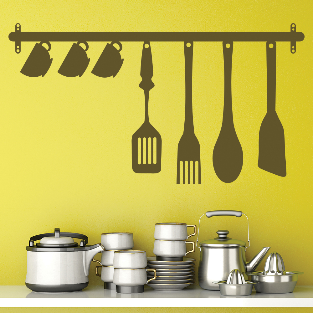 Kitchen Utensils Wall Sticker Food Drink Wall Decal Kitchen Cafe ...
