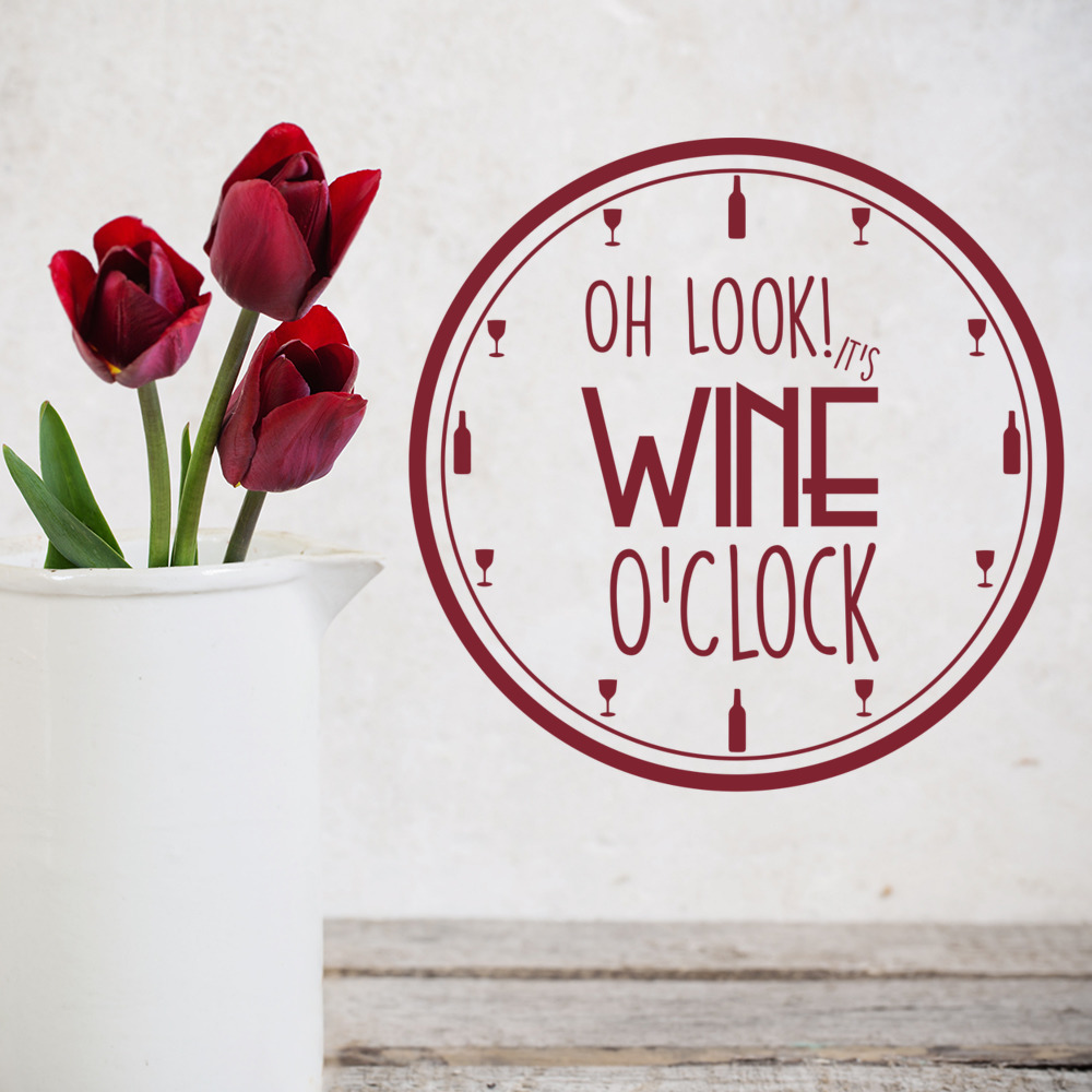 Wine Ou0027Clock Wall Sticker Kitchen Quotes Wall Decal Food Drink Home Decor & Wine Ou0027Clock Wall Sticker Kitchen Quotes Wall Decal Food Drink Home ...