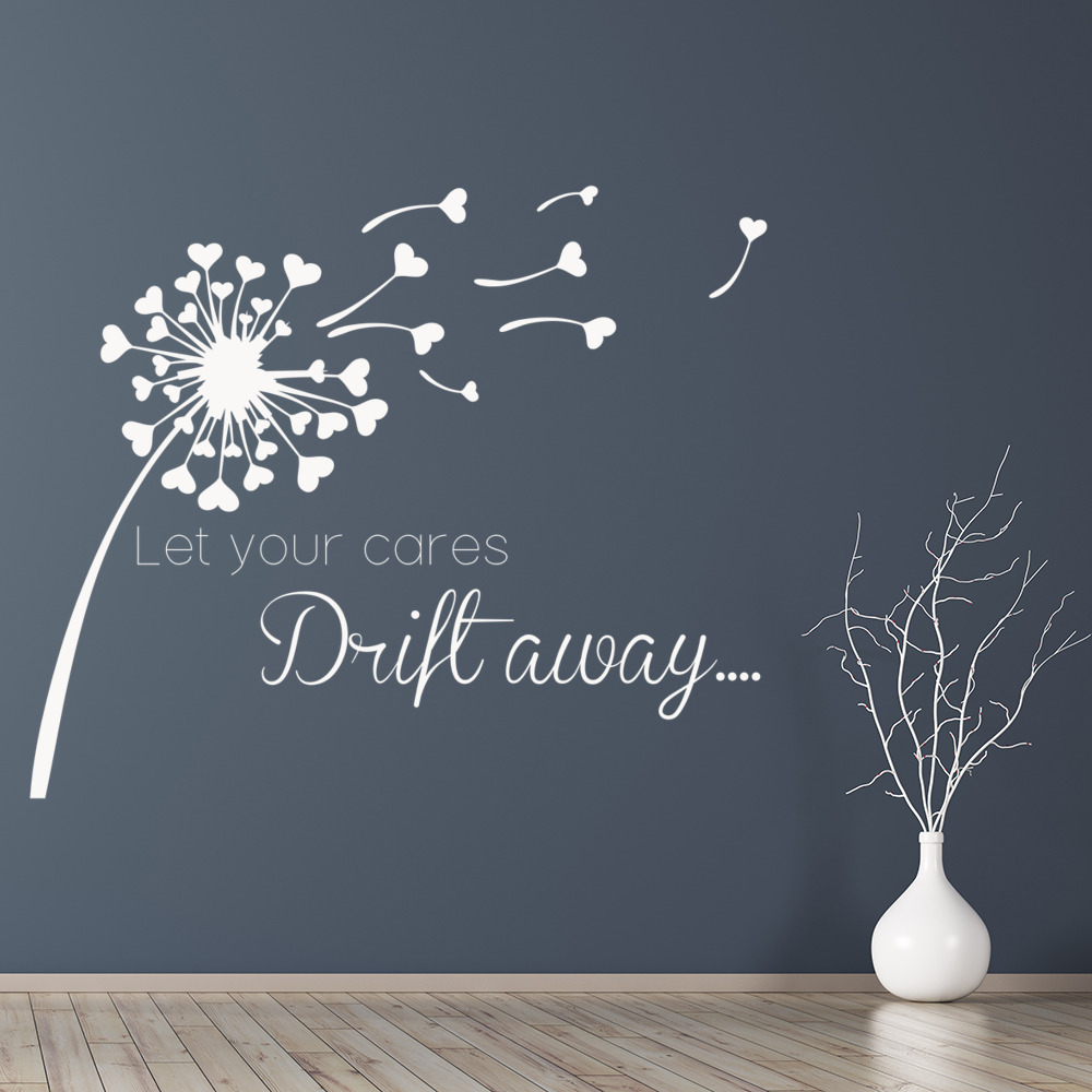 Let your cares drift away dandelion hearts quotes wall stickers let your cares drift away dandelion hearts quotes wall stickers home art decals amipublicfo Gallery