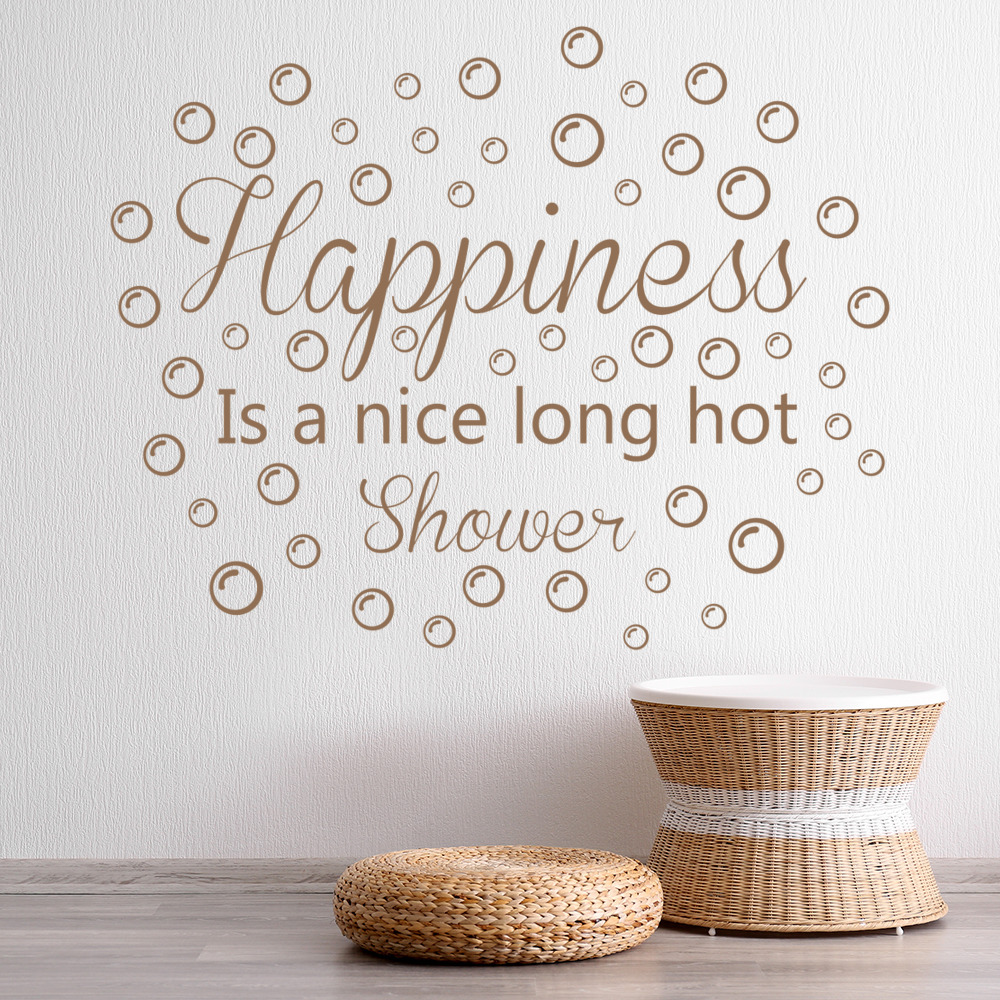 Happiness Wall Sticker Bathroom Quote Wall Decal Shower