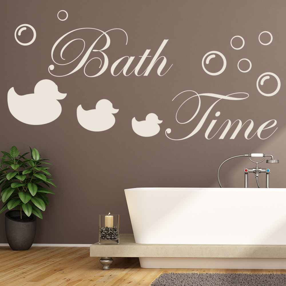 Bath Time Rubber Ducks & Bubbles Wall Quote Wall Stickers Bathroom