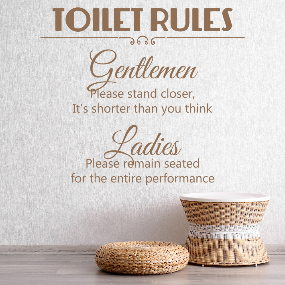 Toilet Rules: Gentlemen U0026 Ladies Comedy Wall Quote Wall Stickers Bathroom  Decals Part 39