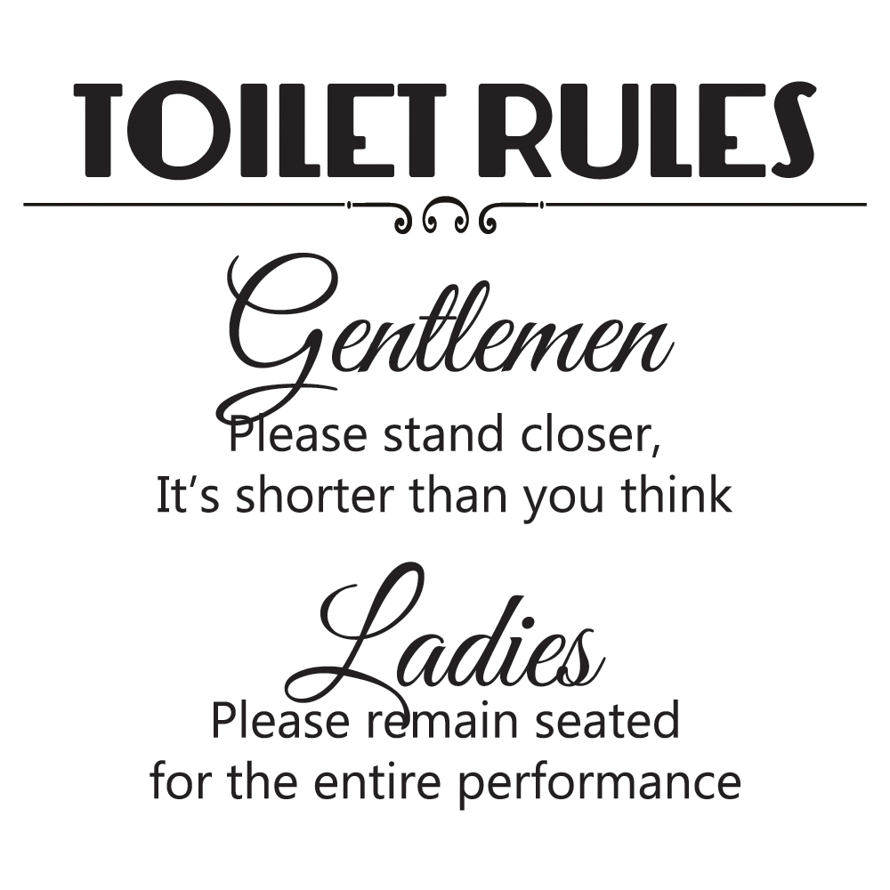 Toilet Rules Wall Sticker Ladies And Gents Wall Decal Funny Home Decor