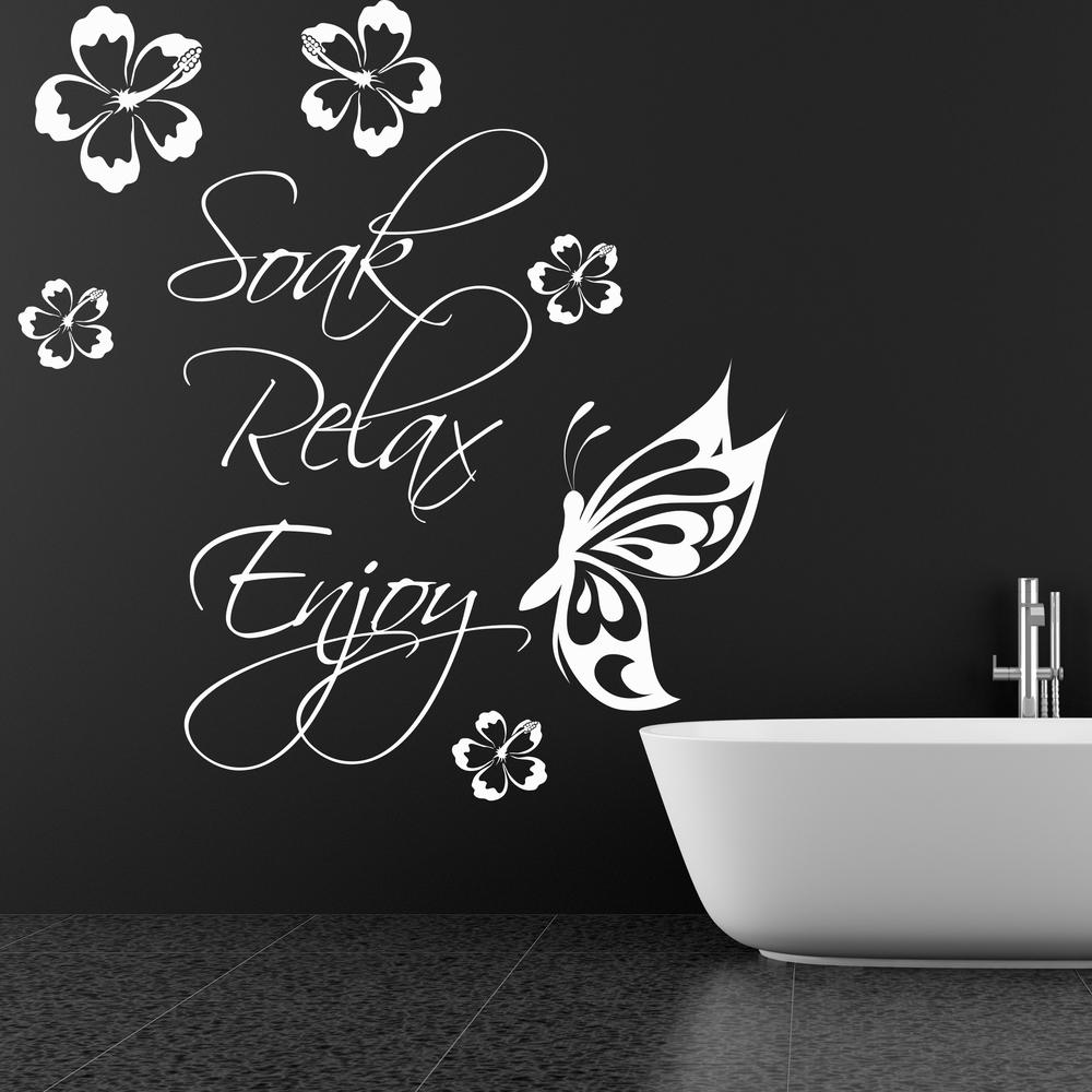 Soak Relax Enjoy Wall Art Sticker Quote Bathroom Bubbles Toilet Splish Splash