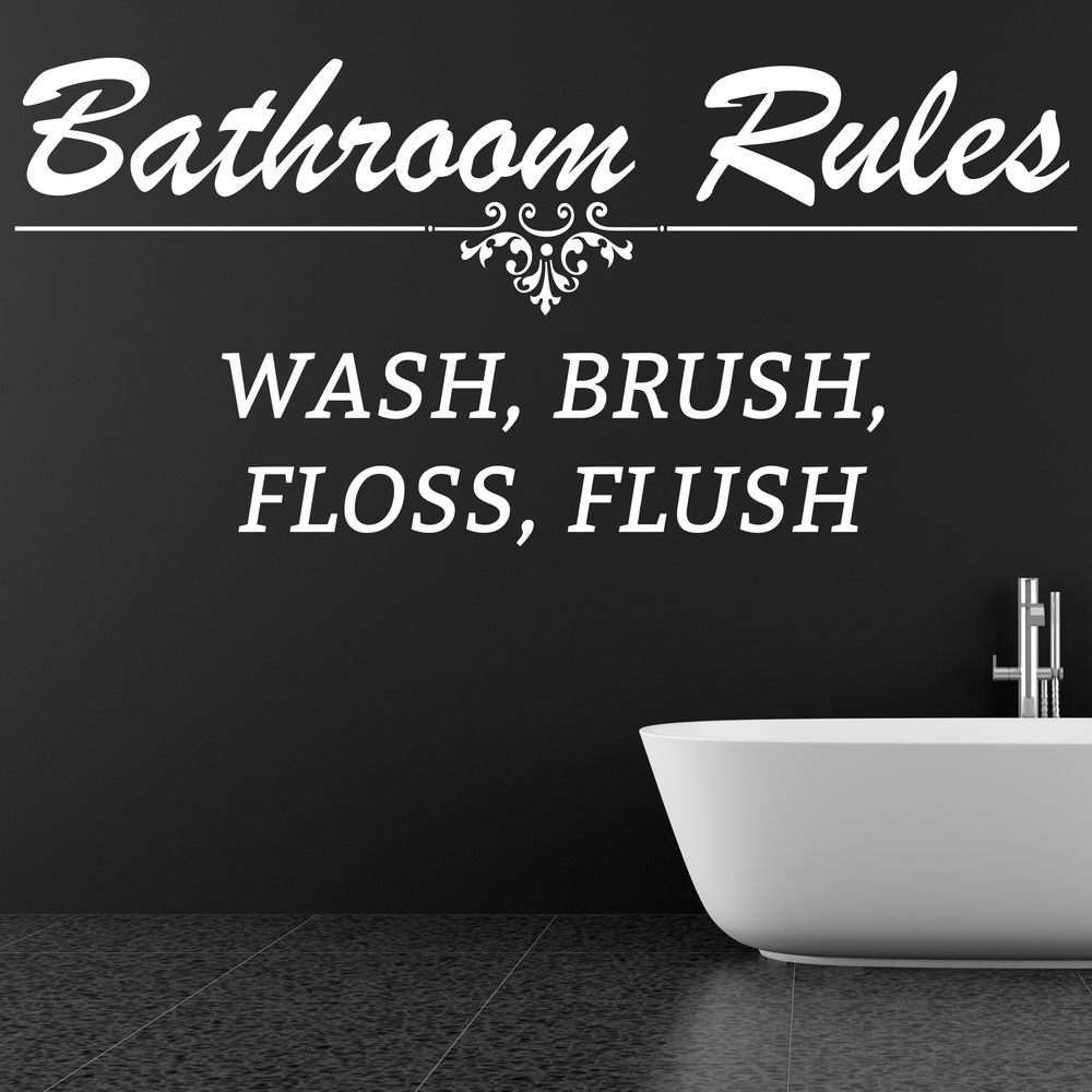 Bathroom Rules Wash Brush Floss Flush Quote Wall Stickers Bathroom