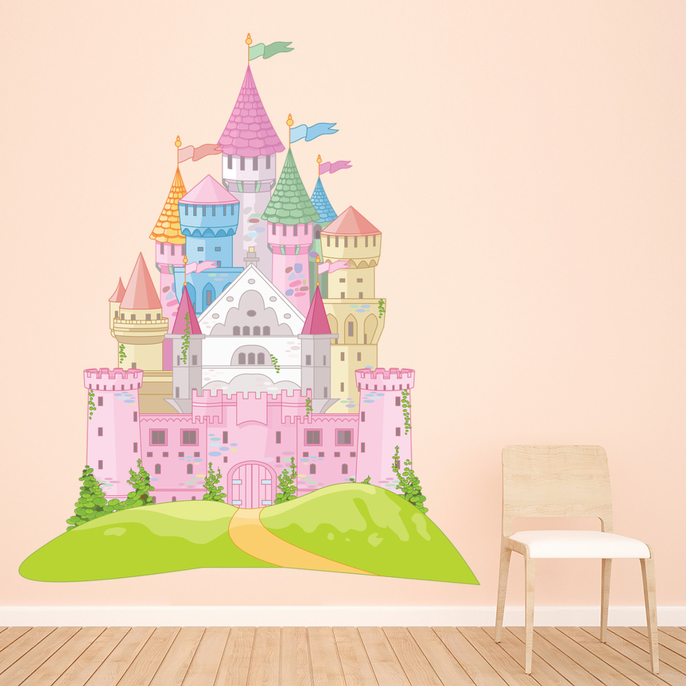 Pink fairytale castle wall sticker princess wall decal girls pink fairytale castle wall sticker princess wall decal girls bedroom home decor amipublicfo Gallery