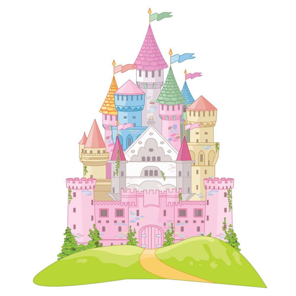 Pink Fairytale Castle Wall Sticker Princess Wall Decal