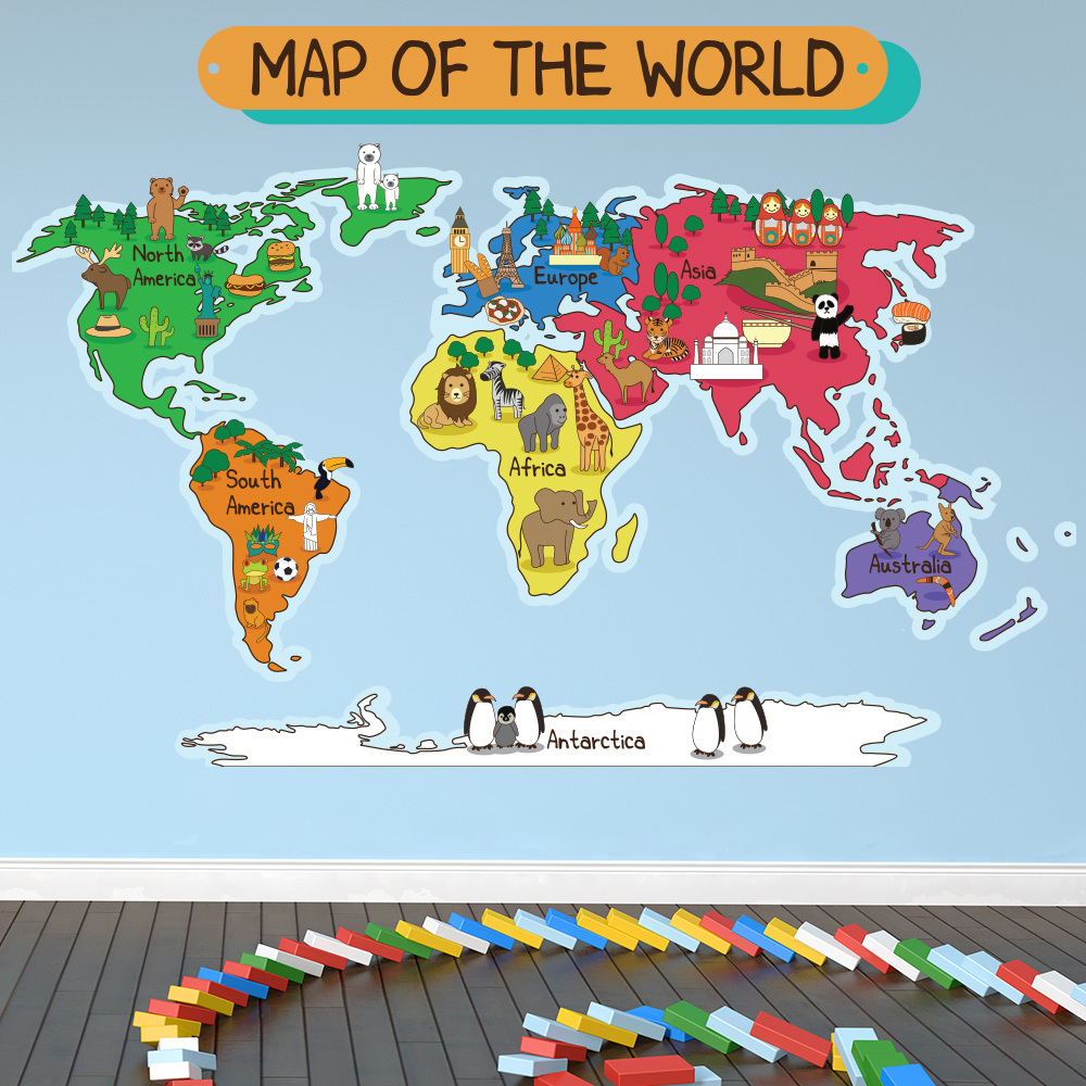 Animal World Map Wall Sticker World Map Wall Decal Kids Bedroom Home Decor Part 97