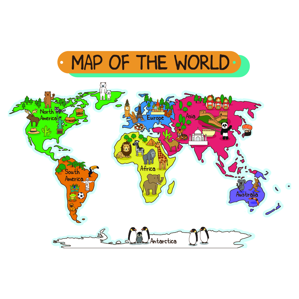 Animal World Map Wall Sticker World Map Wall Decal Kids Bedroom Home