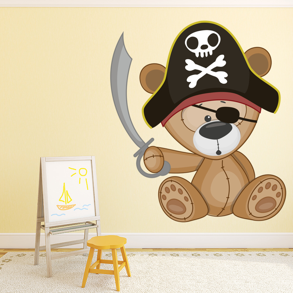 Pirate Teddy Bear Wall Sticker Cute Pirate Wall Decal Boys Nursery Home  Decor