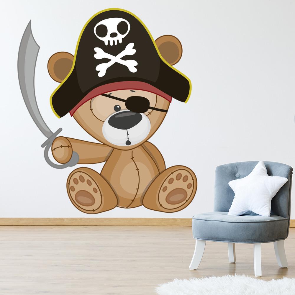 Pirate teddy bear wall sticker cute pirate wall decal boys nursery pirate teddy bear wall sticker cute pirate wall decal boys nursery home decor amipublicfo Gallery
