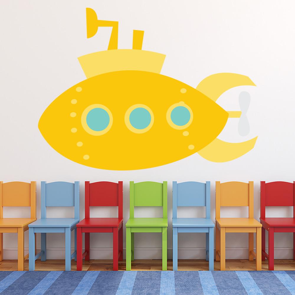 Yellow Submarine Wall Sticker Transport Wall Decal Bathroom Nursery ...