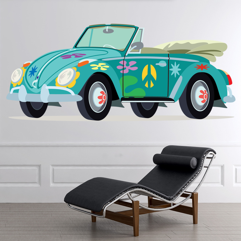 Blue VW Beetle Wall Sticker Hippy Car Wall Decal Peace & Love Home ...