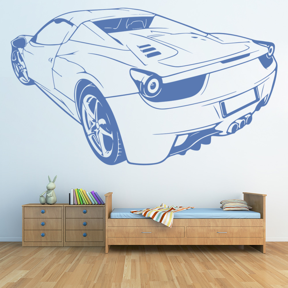 WALL STICKERS CARS Sport for Kids Room FERRARI Cars Sport Decor Sticker Nursery