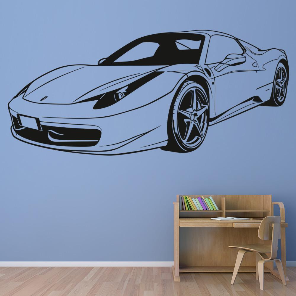 Transport Ferrari: Ferrari Sports Car Wall Sticker Transport Wall Decal Boys