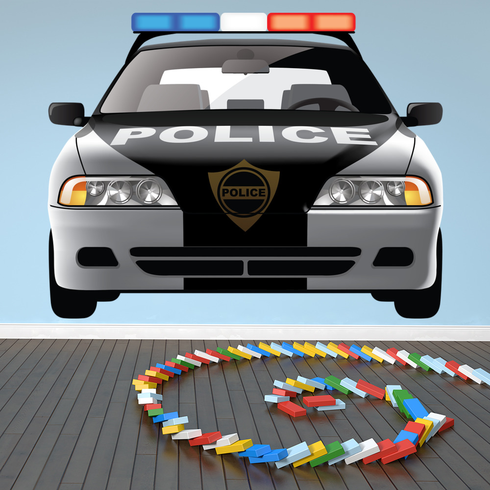 Police Car Wall Sticker Emergency Vehicles Wall Decal Boys Bedroom Home  Decor