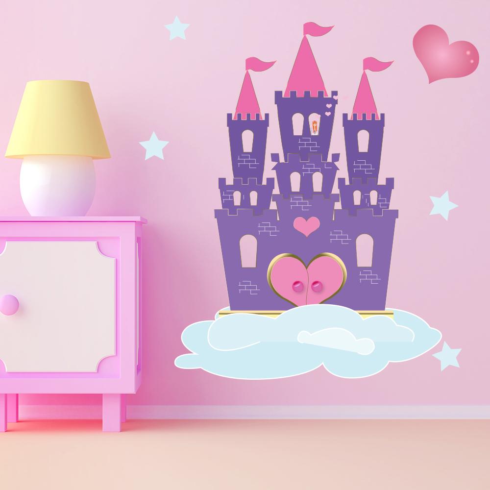 Purple Princess Castle Wall Sticker Fairytale Decal S Bedroom Decor