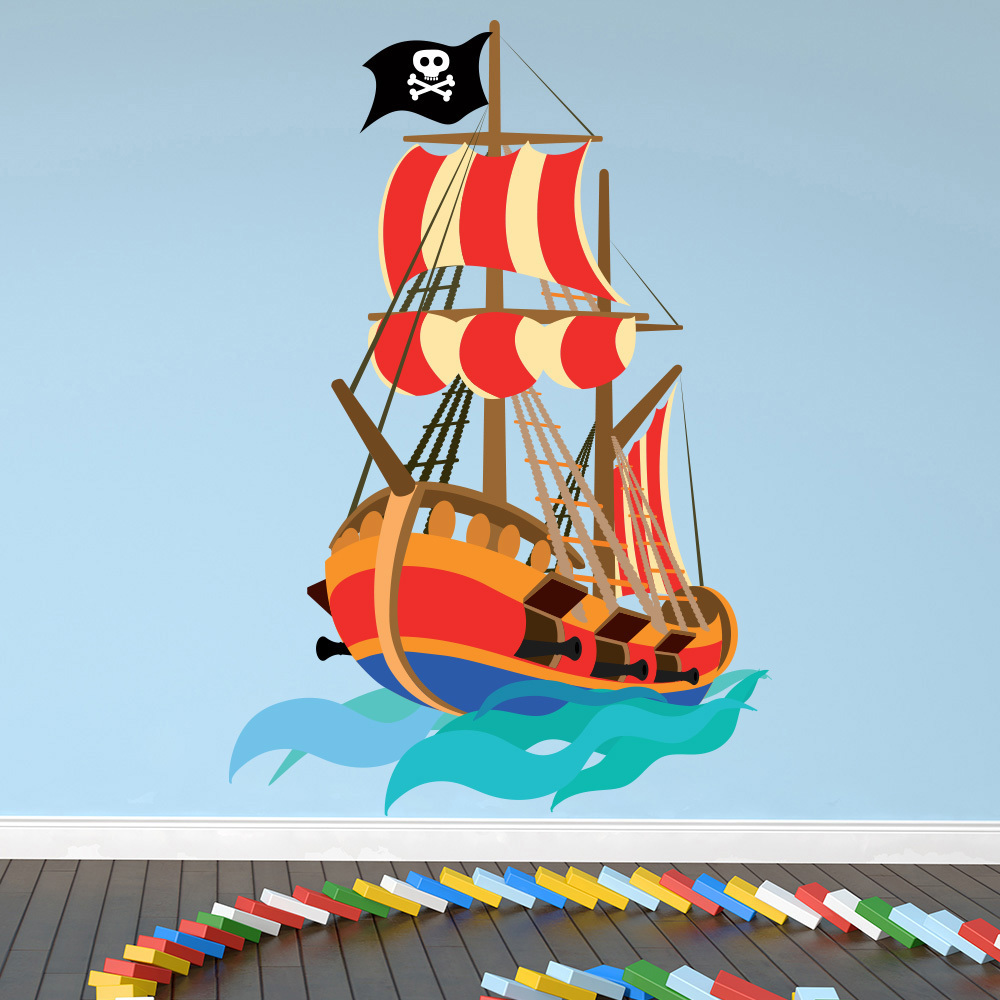 Pirate wall sticker pirate ship wall decal kids boys bedroom home decor ebay - Catalog of wall design for bedroom ...