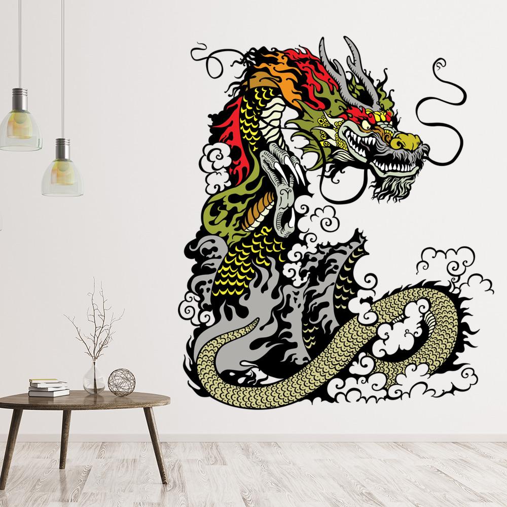 """Sticker Décoration Mur ou voiture /""""Dragon Chinois/"""" 20x14 cm à 40x28 cm"""