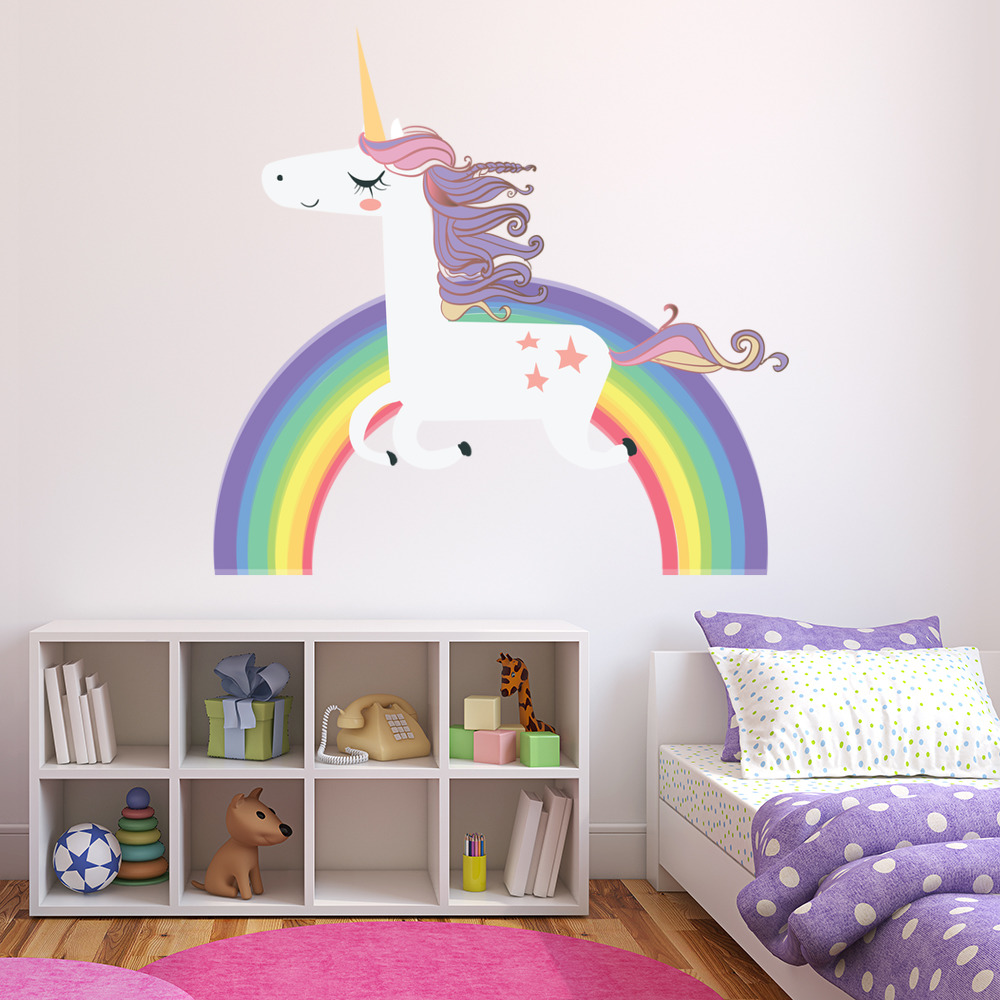 Awesome Unicorn Wall Sticker Rainbow Wall Decal Art Girls Bedroom Nursery Home Decor