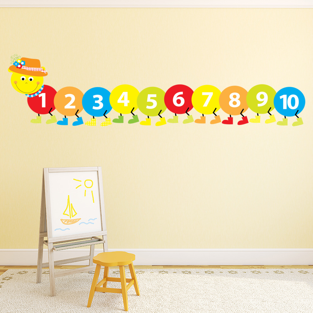 Counting Caterpillar Wall Sticker Childrens Decal Baby Nursery Home Decor