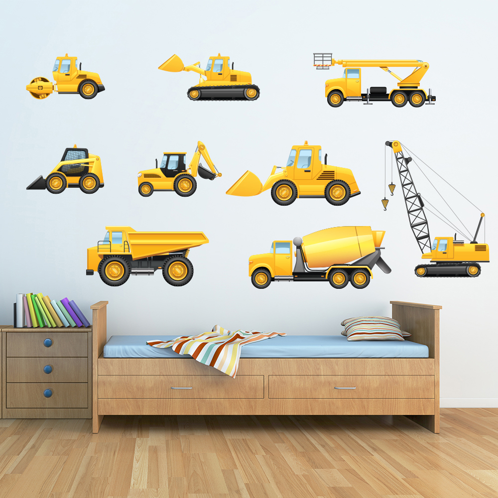 Truck & Digger Wall Sticker Set Construction Wall Decal Boys Room ...