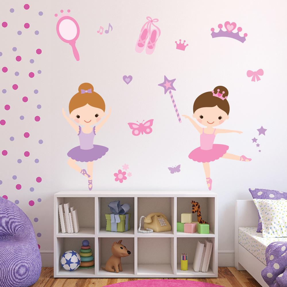 Ballerina Wall Sticker Set Ballet Dance Wall Decal Girls Bedroom Nursery  Decor e348209b38fa