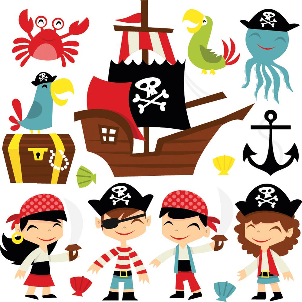 Pirate Ship /& Treasure Wall Sticker Set WS-41304